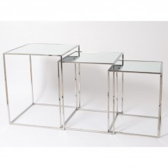 Set de 3 tables d'appoints miroir BASIC