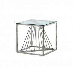 Table d'appoint plateau verre et chrome SCALA