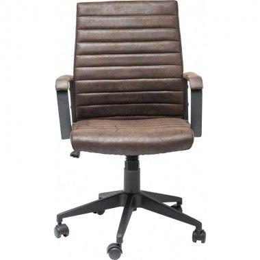 Chaise de bureau effet cuir marron LABORA