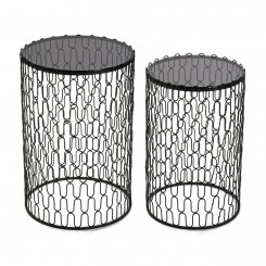 Set de 2 tables d'appoints métal noir BASSO