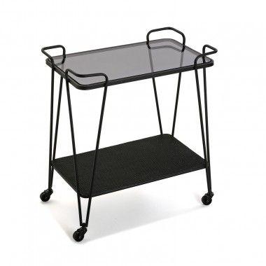 Table à roulettes laquée noire DIVA