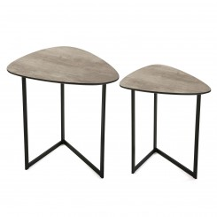 Set de 2 tables d'appoints métal noir LOTTO