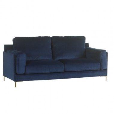 Canapé 3 places tissu bleu FLEUR 220 cm