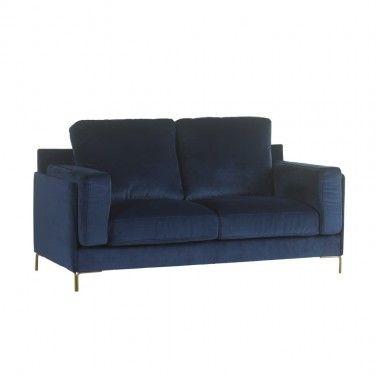 Canapé 2 places tissu bleu FLEUR 190 cm