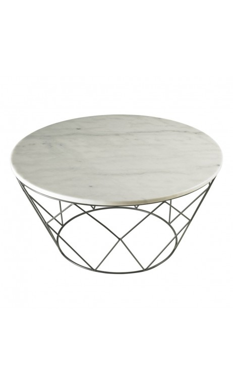 Table basse marbre blanche et chrome WEB