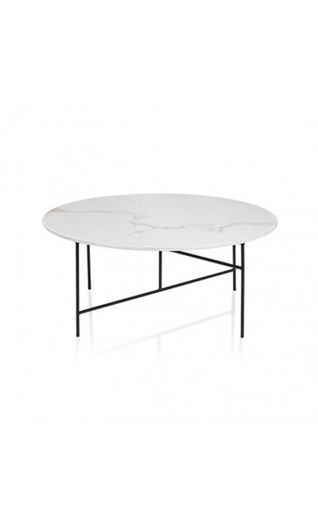 Table Basse Ronde Aspect Marbre Blanc Skyros