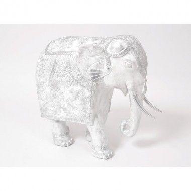 Statue éléphant blanc argenté CHA-AM