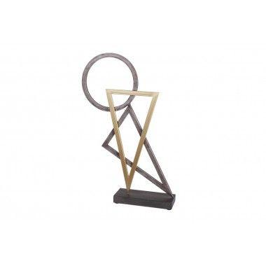 Sculpture triangles cercles 3D métal BEAUX ARTS