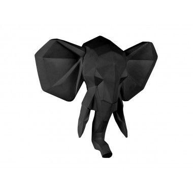 Tête d'éléphant noir ORIGAMI