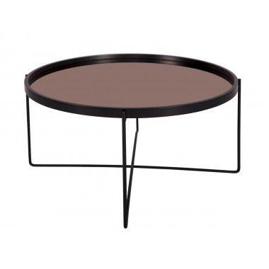 Table basse noir plateau mirroir cuivre POLISHED XL