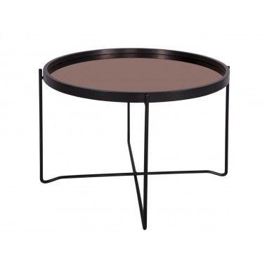 Table basse noir plateau miroir cuivre POLISHED