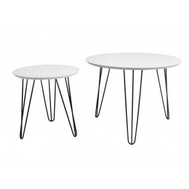 Set de table blanc pieds noirs mat SPARKS