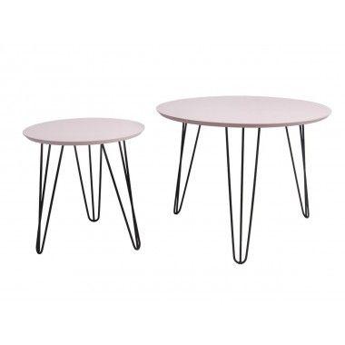 Set de table rose pâle pieds noir mat SPARKS