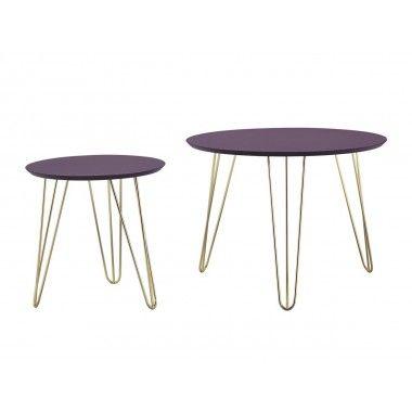 Set de table violet pieds dorés mat SPARKS