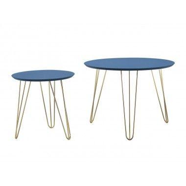 Set de table bleu pieds dorés mat SPARKS