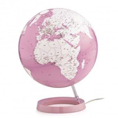 Globe terrestre lumineux design blanc et corail sur socle couleur corail