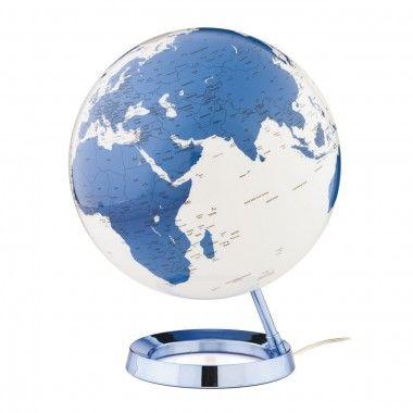 Globe terrestre lumineux design blanc bleu électrique sur socle couleur bleu