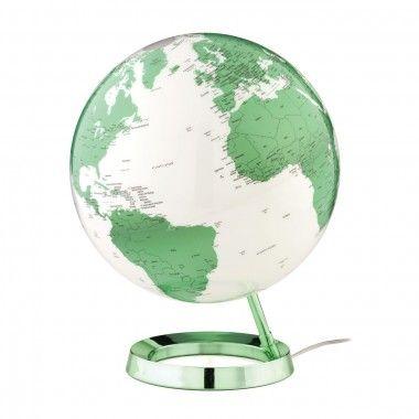 Globe terrestre lumineux design blanc vert électrique sur socle couleur verte