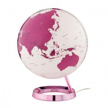 Globe terrestre lumineux design blanc rose électrique sur socle couleur rose