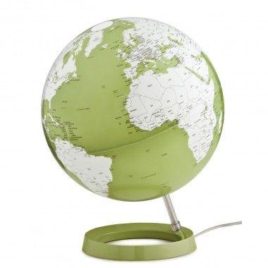 Globe terrestre lumineux design blanc et vert sur socle couleur pistache