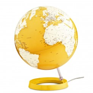 Globe terrestre lumineux design blanc et jaune sur socle couleur jaune