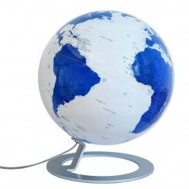 Globe terrestre lumineux design blanc et bleu sur socle aluminium