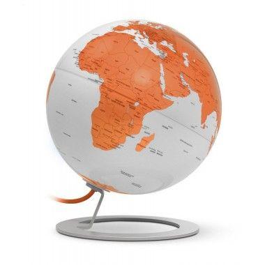 Globe terrestre lumineux design blanc et orange sur socle aluminium