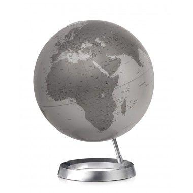 Globe terrestre design Silver sur socle aluminium