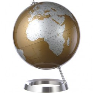 Globe terrestre design Almond sur socle aluminium