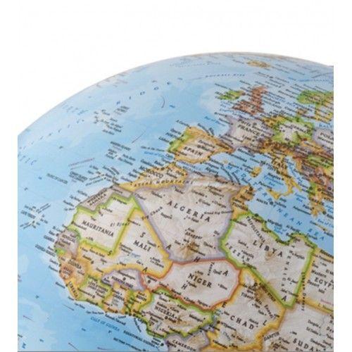 Globe terrestre lumineux socle en chêne