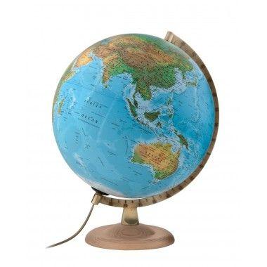 Globe terrestre lumineux Gold Classic socle en hêtre