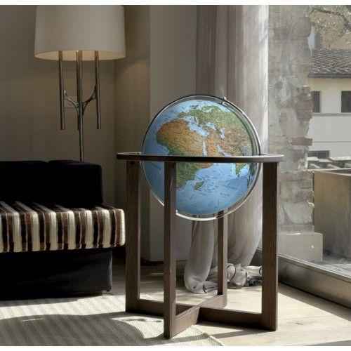 Globe terrestre lumineux sur base contemporaine en bois Cross Blue