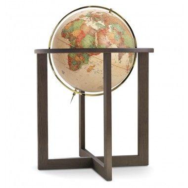 Globe terrestre lumineux sur base contemporaine en bois Cross Antique