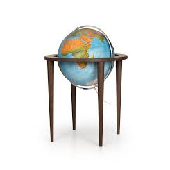 Globe terrestre lumineux base contemporaine en bois Queen Blue