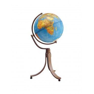 Globe terrestre lumineux pieds bois moulé sur roulettes Emily Blue