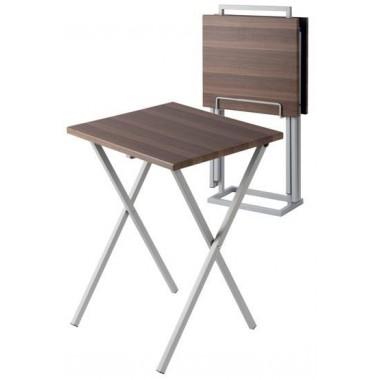 DOUBLE TABLES D'APPOINTS ASPECT BOIS AVEC SUPPORT PORTATIF DE RANGEMENT