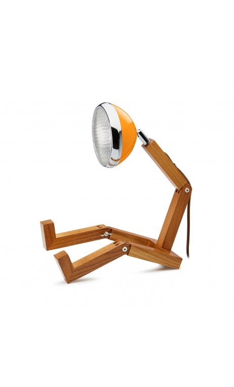 Lampe Bonhomme orange en bois MR.WATTSON