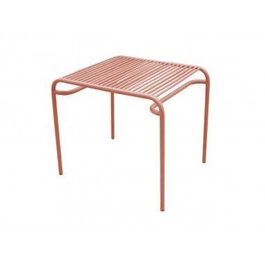 Table d'appoint d'extérieur métal marron LINEATE
