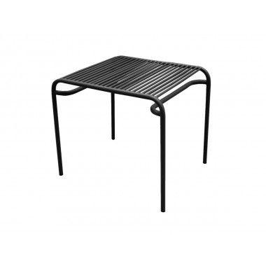Table d'appoint d'extérieur métal noir LINEATE