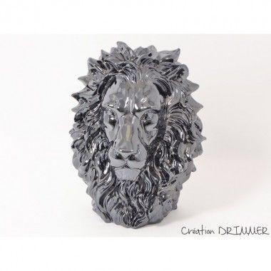 Statue à poser tête de lion noir mat KING