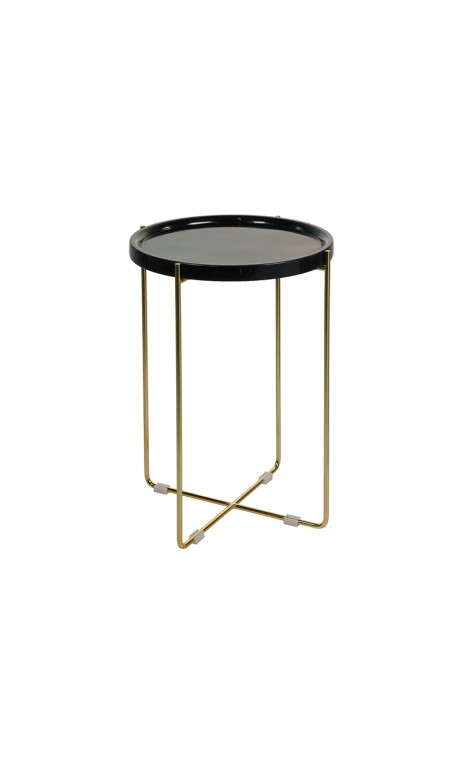 Table d'appoint ronde marbre noir et doré CONTEMPORAIN