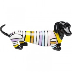 Statue chien Teckel bandes couleurs Sausage Dog STRIPE