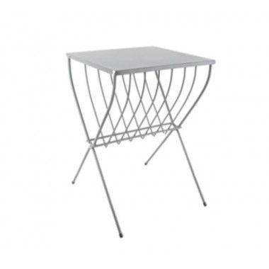 Table d'appoint d'extérieur métal gris LINEATE