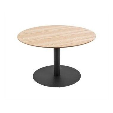 Table basse bois de chêne et métal DOT Ø60 cm