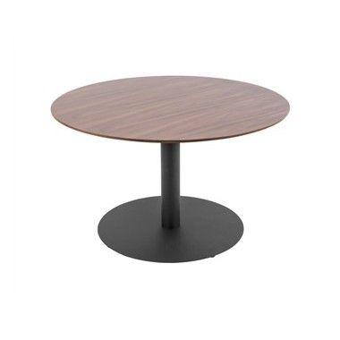 Table basse bois de noyer et métal DOT Ø60 cm