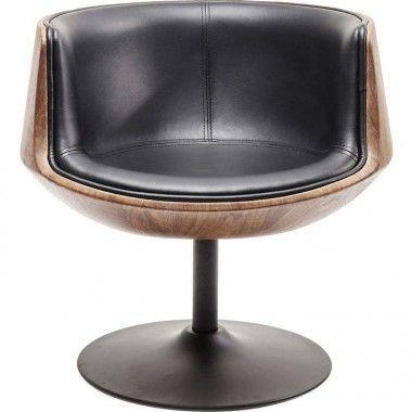 Fauteuil pivotant design cuir noir et bois Club noyer