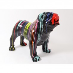 Statue bulldog noir et multicolore TRASH