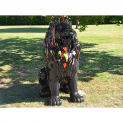 Statue lion géant assis noir XL 144 cm TRASH