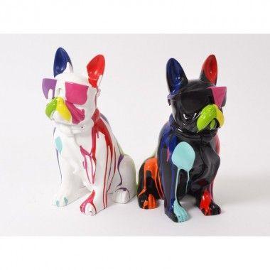 Set 2 Statues chien lunettes noir et blanc TRASH