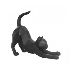 Statue chat Stretching noir ORIGAMI